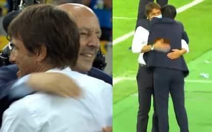 Gli abbracci di Conte a Zhang e Marotta. VIDEO