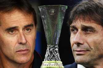 FILE PHOTO (EDITORS NOTE: COMPOSITE OF IMAGES - Image numbers 1197380217, 1152467118, 1168793835 - GRADIENT ADDED) In this composite image a comparison has been made between Head Coach Julen Lopetegui of Sevilla FC (L) and FC Internazionale Milan Head Coach Antonio Conte. Seville and FC Internazionale meet in the UEFA Europa League Final on August 21,2020 at the RheinEnergieStadion in Cologne,Germany. ***LEFT IMAGE*** MILAN, ITALY - JANUARY 29: FC Internazionale coach Antonio Conte looks on during the Coppa Italia Quarter Final match between FC Internazionale and ACF Fiorentina at San Siro on January 29, 2020 in Milan, Italy. (Photo by Emilio Andreoli/Getty Images) ***CENTER IMAGE*** BAKU, AZERBAIJAN - MAY 29: A detailed view of the Europa League Trophy is seen prior to the UEFA Europa League Final between Chelsea and Arsenal at Baku Olimpiya Stadionu on May 29, 2019 in Baku, Azerbaijan. (Photo by Michael Regan/Getty Images) ***RIGHT IMAGE***  BARCELONA, SPAIN - AUGUST 18: Head Coach Julen Lopetegui of Sevilla FC looks on during the Liga match between RCD Espanyol and Sevilla FC at RCDE Stadium on August 18, 2019 in Barcelona, Spain. (Photo by Alex Caparros/Getty Images)