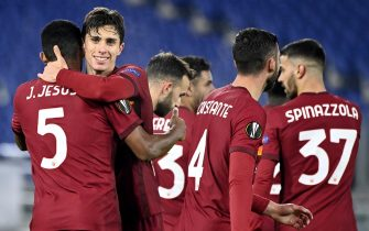 RomaÕs Riccardo Calafiori (2L) celebrates his goal with teammates during the UEFA Europe League Group A soccer match between AS Roma and BSC Young Boys at the Olimpico stadium in Rome, Italy, 3 December 2020. ANSA/RICCARDO ANTIMIANI
