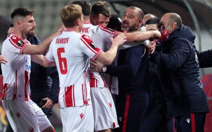 Milan beffato al 93': con la Stella Rossa è 2-2