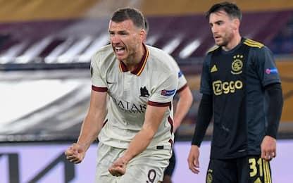 Dzeko manda in semifinale la Roma, 1-1 con l'Ajax