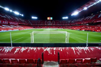 SEVILLE, SPAIN - MARCH 14: A general view inside the stadium prior to the La Liga Santander match between Sevilla FC and Real Betis at Estadio Ramon Sanchez Pizjuan on March 14, 2021 in Seville, Spain. Sporting stadiums around Spain remain under strict restrictions due to the Coronavirus Pandemic as Government social distancing laws prohibit fans inside venues resulting in games being played behind closed doors. (Photo by Fran Santiago/Getty Images)