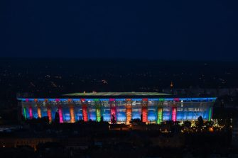 BUDAPEST, HUNGARY - JUNE 26: A general view as the Puskas Arena lights up after the Netherlands training session ahead of the UEFA Euro 2020 Round of 16 match between Netherlands and Czech Republic at Puskas Arena on June 26, 2021 in Budapest, Hungary. (Photo by Alex Pantling/Getty Images)