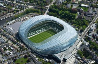 19 September 2014; The hosting of three UEFA EURO 2020 group games and one round of sixteen fixture will take place in the Aviva Stadium, Dublin. This file picture shows an aerial view of the Aviva Stadium. Dublin. Picture credit; Brendan Moran / SPORTSFILE (Photo by Sportsfile/Corbis/Sportsfile via Getty Images)