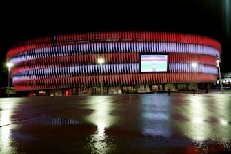 BILBAO, SPAIN - JANUARY 25: General view outside of the stadium ahead of the La Liga Santander match between Athletic Club and Getafe CF at Estadio de San Mames on January 25, 2021 in Bilbao, Spain. (Photo by Juan Manuel Serrano Arce/Getty Images)