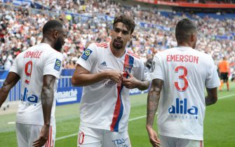 Lucas PAQUETA Olympique Lyonnais celebrate scoring during the French L1 football match between Olympique Lyonnais and Clermont Foot 63 at the Groupama stadium in Decines-Charpieu near Lyon, central eastern France on August 22, 2021.//ALLILIMOURAD_1649.3263/2108231436/Credit:Mourad ALLILI/SIPA/2108231439