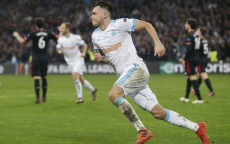 epa06590270 Lucas Ocampos of Olympique Marseille celebrates scoring a goal during the UEFA Europa League round of 16, first leg soccer match between Olympique Marseille and Athletic Bilbao in Marseille, Southern France, 08 March 2018.  EPA/GUILLAUME HORCAJUELO