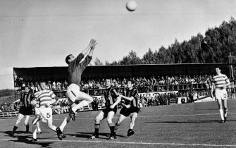 30th May 1967:  Celtic's goalkeeper, Ronnie Simpson, jumps to catch a high ball from Inter Milan during the European Cup final in Lisbon. Tommy Gemmell and Stevie Chalmers scored for Celtic which ensured a surprise 2-1 victory for the Scottish team. Celtic became the first British side to win the trophy and remain the only Scottish side to reach the final.  (Photo by Central Press/Getty Images)