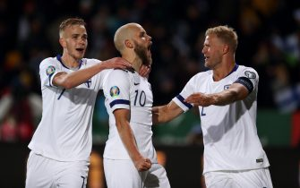 HELSINKI, FINLAND - NOVEMBER 15: Teemu Pukki of Finland celebrates after scoring a goal to make it 3-0 during the UEFA Euro 2020 Qualifier between Finland and Liechtenstein on November 15, 2019 in Helsinki, Finland. (Photo by James Williamson - AMA/Getty Images)