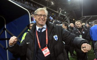 Head coach Markku Kanerva of Finland celebrates after the UEFA Euro 2020 Group J qualification football match between Finland and Liechtenstein in Helsinki, Finland, on November 15, 2019. - Finland has qualified for the first time for a major football tournament. (Photo by Markku Ulander / Lehtikuva / AFP) / Finland OUT (Photo by MARKKU ULANDER/Lehtikuva/AFP via Getty Images)
