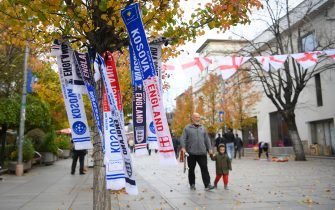 PRISTINA, KOSOVO - NOVEMBER 17: Scarves for sale on the street before the UEFA Euro 2020 Qualifier between Kosovo and England on November 17, 2019 in Pristina, Kosovo. (Photo by Michael Regan/Getty Images)