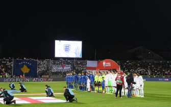 PRISTINA, KOSOVO - NOVEMBER 17: The teams line up for the anthems during the UEFA Euro 2020 Qualifier between Kosovo and England at the Pristina City Stadium on November 17, 2019 in Pristina, Kosovo. (Photo by Michael Regan/Getty Images)