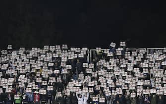 epa08004154 England fans display banners during the UEFA EURO 2020 group A qualifying soccer match between Kosovo and England in Pristina, Kosovo, 17 November 2019.  EPA/VALDRIN XHEMAJ
