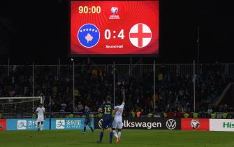 PRISTINA, KOSOVO - NOVEMBER 17:  The scoreboard is seen at full-time during the UEFA Euro 2020 Qualifier between Kosovo and England at the Pristina City Stadium on November 17, 2019 in Pristina, Kosovo. (Photo by Michael Regan/Getty Images)