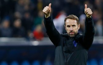 England's head coach Gareth Southgate gives a thumbs up after the UEFA Euro 2020 qualifying Group A football match between Kosovo and England at the Fadil Vokrri stadium in Prishtina on November 17, 2019. (Photo by Armend NIMANI / AFP) (Photo by ARMEND NIMANI/AFP via Getty Images)