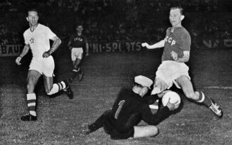 Czech goalkeeper Viliam Schrojf saves the ball against Soviet Union's player during the  European Nations Cup Soccer, on July 6, 1960 in Marseille. The 1960 UEFA European Nations Cup was the first European Football Championship, held every four years and endorsed by UEFA. The final tournament was held in France. It was won by the Soviet Union, who beat Yugoslavia 21 in Paris after extra time.   AFP PHOTO / AFP / IAN LANGSDON        (Photo credit should read IAN LANGSDON/AFP via Getty Images)