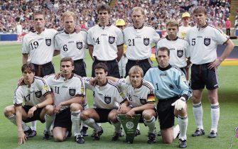 LONDON, ENGLAND - JUNE 30:  The Germany team including captain  	Jürgen Klinsmann  (front row 2nd right) are pictured before the 1996 UEFA European Championships Final against Czech Republic at Wembley Stadium on June 30, 1996 in London, United Kingdom. (Photo by Stu Forster/Allsport/Getty Images/Hulton Archive)