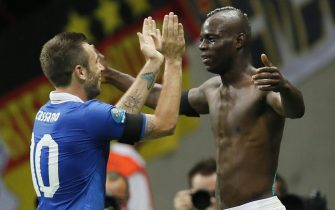 epa03286844 Italy's Mario Balotelli (R) celebrates with teammate Antonio Cassano (L) after scoring the 2-0 lead during the semi final match of the UEFA EURO 2012 between Germany and Italy in Warsaw, Poland, 28 June 2012.  EPA/KAMIL KRZACZYNSKI UEFA Terms and Conditions apply http://www.epa.eu/downloads/UEFA-EURO2012-TCS.pdf