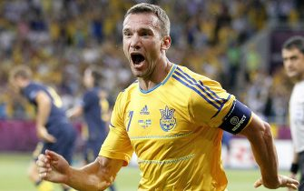 Andriy Shevchenko odf Ukraine celebrates after scoring the 1-1 during the Group D preliminary round match of the UEFA EURO 2012 between Ukraine and Sweden in Kiev, Ukraine, 11 June 2012.