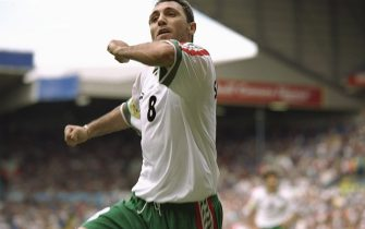 9 Jun 1996:  Hristo Stoichkov of Bulgaria celebrates after scoring his penalty goal against Spain during the European soccer championships game between Spain and Bulgaria at Elland Road, Leeds. The game ended in a 1-1 draw.Mandatory Credit:  Ben Radford/Allsport UK
