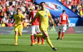 PARIS, FRANCE - JUNE 15:  Bogdan Stancu of Romania celebrates scoring his sides first goal during the UEFA EURO 2016 Group A match between Romania and Switzerland at Parc des Princes on June 15, 2016 in Paris, France.  (Photo by Clive Mason/Getty Images)