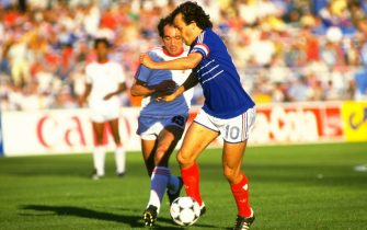 1984:  Michel Platini of France in action during the European Championship semi-final against Portugal in Marseilles, France. France won the match 3-2. \ Mandatory Credit: Allsport UK /Allsport