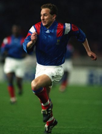 25 MAR 1992:  JEAN PIERRE PAPIN OF THE FRENCH SOCCER TEAM IN ACTION DURING THEIR MATCH AGAINST BELGIUM. Mandatory Credit: Chris Cole/ALLSPORT