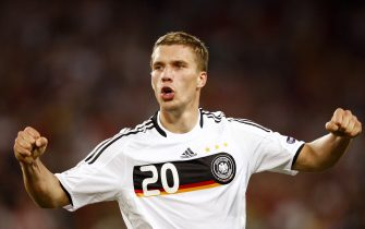German forward Lukas Podolski celebrates at the end of the Euro 2008 Championships quarter-final football match Portugal vs. Germany on June 19, 2008 at St. Jakob-Park in Basel.  Germany won 3-2.    AFP PHOTO / VALERY HACHE  -- MOBILE SERVICES OUT --    (Photo credit should read VALERY HACHE/AFP via Getty Images)