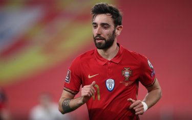 TURIN, ITALY - MARCH 24: Bruno Fernandes of Portugal during the FIFA World Cup 2022 Qatar qualifying match between Portugal and Azerbaijan at Allianz Stadium on March 24, 2021 in Turin, Italy. (Photo by Jonathan Moscrop/Getty Images)