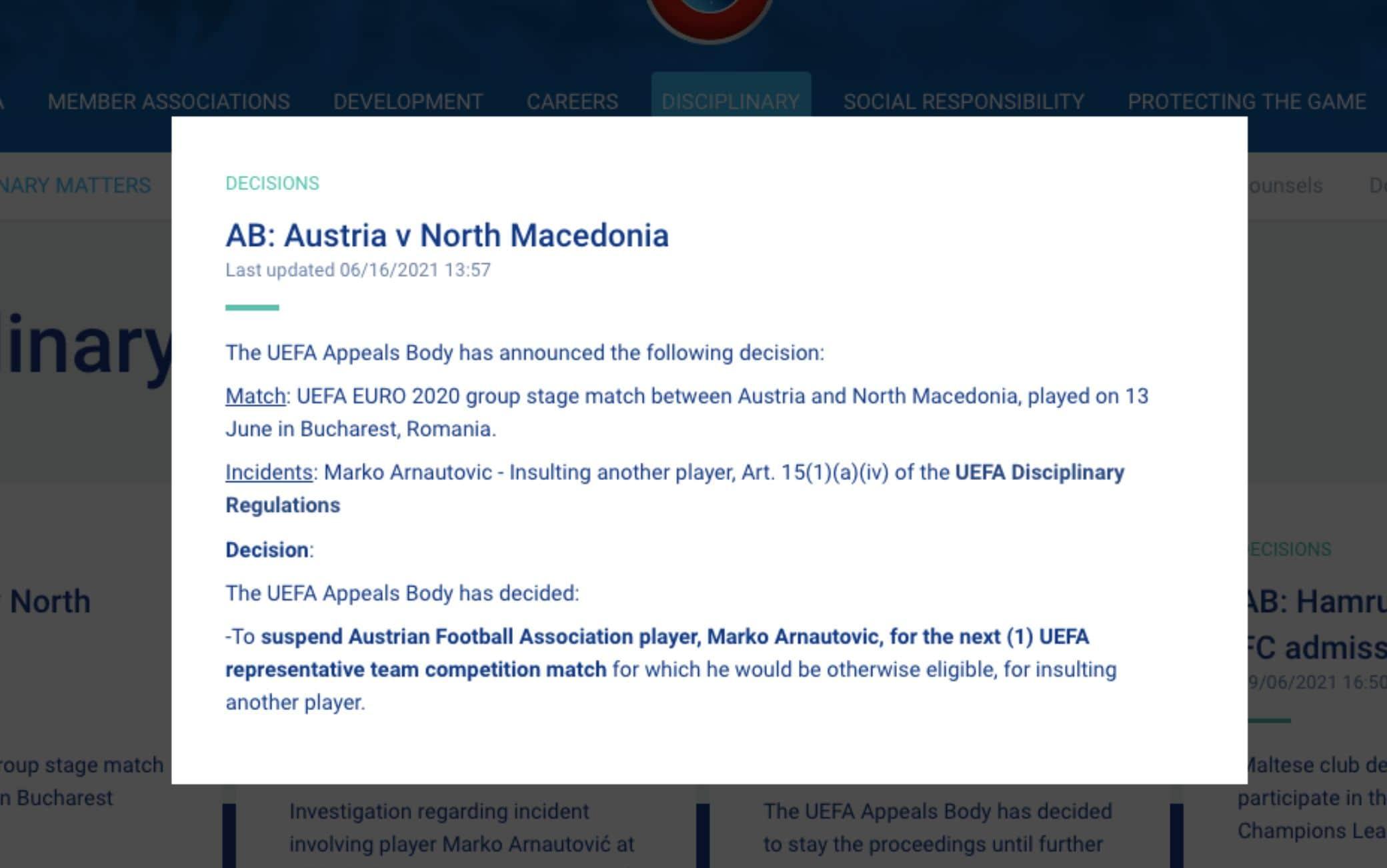 Il comunicato dell'Uefa sulla squalifica di Arnautovic