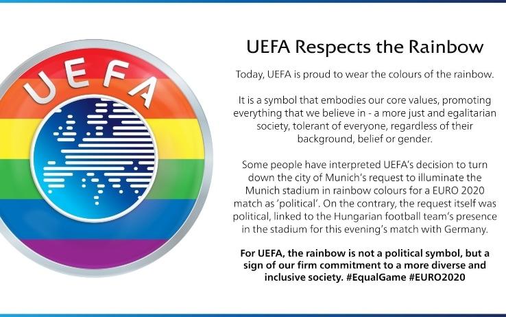 Uefa arcobaleno comunicato