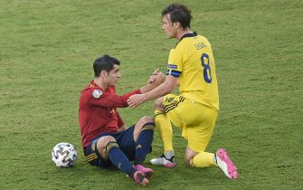 Alvaro Morata of Spain and Albin Ekdal of Sweden during the match between Spain and Sweden of Euro 2020, group E, matchday 1, played at La Cartuja Stadium on June 14, 2021 in Sevilla, Spain. (Photo by Pressinphoto / Icon Sport/Sipa USA)