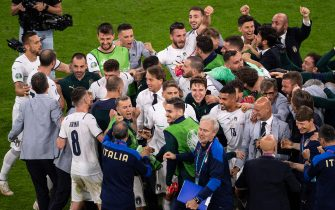 02.07.2021, Munich, Allianz Arena, EURO 2020: Belgium - Italy, Italy celebrates the access into the semifinals with Roberto Mancini (Italy) (Photo by Vedran Galijas/Just Pictures/Sipa USA)