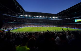 A general view of the action on the pitch from the stands during the UEFA Euro 2020 semi final match at Wembley Stadium, London. Picture date: Wednesday July 7, 2021.