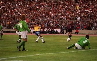 Denilsson DeOliveria of Brazil opens the scoring to make rit 1-0  (Photo by Matthew Ashton/EMPICS via Getty Images)
