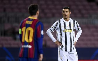 BARCELONA, SPAIN - December 08, 2020: Cristiano Ronaldo (R) of Juventus FC and Lionel Messi of FC Barcelona are seen during the UEFA Champions League Group G football match between FC Barcelona and Juventus. Juventus FC won 3-0 over FC Barcelona. (Photo by Nicolò Campo/Sipa USA)
