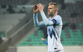 Josip Ilicic of Slovenia reacts during the UEFA Nations League football match between Slovenia and Kosovo at the Stadium Stozice in Ljubljana on November 15, 2020. (Photo by Jure Makovec / AFP) (Photo by JURE MAKOVEC/AFP via Getty Images)