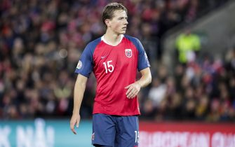 OSLO, NORWAY - OCTOBER 12: Sander Berge of Norway during the  EURO Qualifier match between Norway  v Spain  at the Ullevaal Stadion on October 12, 2019 in Oslo Norway (Photo by David S. Bustamante/Soccrates/Getty Images)