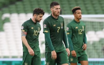 epa08651343 Robbie Brady (L) Matt Doherty (C) and Callum Robinson (R) of Ireland react at the end of the UEFA Nations League match between Ireland and Finland in Dublin, Ireland, 06 September 2020.  EPA/Lorraine O'Sullivan / POOL