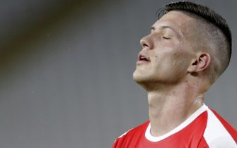 epa08328326 (FILE) Luka Jovic of Serbia reacts during the UEFA EURO 2020, Group B qualifying soccer match between Serbia and Lithuania, in Belgrade, Serbia, 10 June 2019. According to reports on 28 March 2020, Real Madrid's Luka Jovic faces jail time after breaking quarantine guidelines to visit model girlfriend Sofija Milosevic in Serbia.  EPA/ANDREJ CUKIC