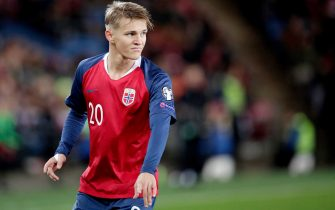 OSLO, NORWAY - OCTOBER 12: Martin Odegaard of Norway  during the  EURO Qualifier match between Norway  v Spain  at the Ullevaal Stadion on October 12, 2019 in Oslo Norway (Photo by David S. Bustamante/Soccrates/Getty Images)