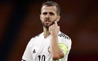 AMSTERDAM - (lr) Miralem Pjanic of Bosnia and Herzegovina during the UEFA Nations League qualifying match between the Netherlands and Bosnia and Herzegovina at the Johan Cruyff Arena on November 15, 2020 in Amsterdam, The Netherlands. ANP MAURICE VAN STEEN (Photo by ANP Sport via Getty Images)
