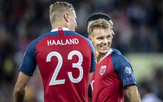 OSLO, NORWAY - SEPTEMBER 05:  Erling Braut Haaland, Martin Odegaard  of Norway  during the UEFA Euro 2020 qualifier between Norway and Malta at Ullevaal Stadion on September 5, 2019 in Oslo, Norway. (Photo by Trond Tandberg/Getty Images)