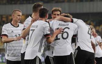 epa08734843 Matthias Ginter (R) of Germany celebrates with his teammates  after scoring the opening goal during the UEFA Nations League group stage, league A, group 4 soccer match between Ukraine and Germany in Kiev, Ukraine, 10 October 2020.  EPA/SERGEY DOLZHENKO