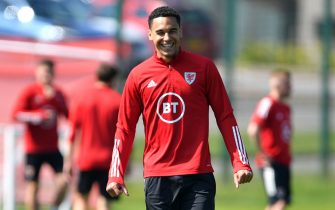 Wales' Ben Cabango during the training session at the Vale Resort, Hensol. Picture date: Monday May 31, 2021.