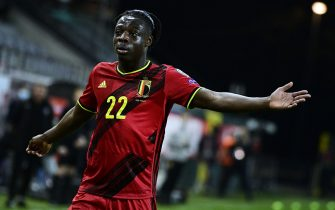 Belgium's Jeremy Doku reacts during a qualification game for the World Cup 2022 in the group E between the Belgian national team Red Devils and Belarus (third out of eight games), Tuesday 30 March 2021 in Leuven. BELGA PHOTO YORICK JANSENS (Photo by YORICK JANSENS/Belga/Sipa USA)