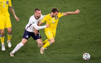 03.07.2021, Rome, Stadio Olimpico, EURO 2020: Ukraine - England, Oleksandr Karavaev (Ukraine) against Luke Shaw (England) (Photo by JustPicturesPlus/Just Pictures/Sipa USA)