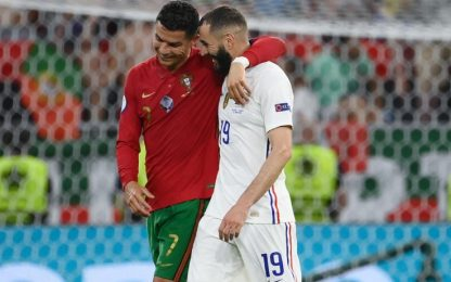 Fanno tutto CR7 e Benzema: Portogallo-Francia 2-2