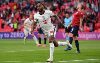 LONDON, ENGLAND - JUNE 22: Raheem Sterling of England celebrates after scoring their team's first goal during the UEFA Euro 2020 Championship Group D match between Czech Republic and England at Wembley Stadium on June 22, 2021 in London, England. (Photo by Laurence Griffiths/Getty Images)