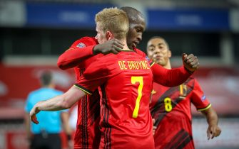 Belgium's Romelu Lukaku and Belgium's Kevin De Bruyne celebrate after scoring during a soccer game between the Belgian national team Red Devils and Denmark, Wednesday 18 November 2020 in Leuven, on the sixth and last day of the group stage (group A2) of the Nations League. BELGA PHOTO VIRGINIE LEFOUR (Photo by VIRGINIE LEFOUR/Belga/Sipa USA)